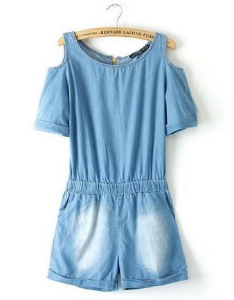 Livraison gratuite 2014 l'arrivée de nouveaux jeans shorts femmes salopette en jean bustierquailty fille.