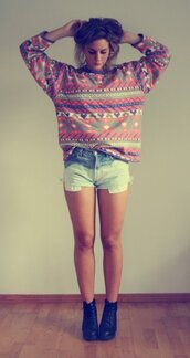 multicolor,blouse,sweater,shoes,cardigan,style,aztec,tribal pattern,pattern,colorful,rainbow,pullover,hipster