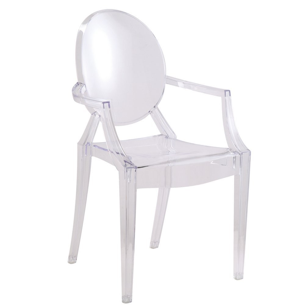 Amazon.com - Designer Modern Louis Ghost Arm Chair - Transparent Acrylic Chair - Dining Chairs
