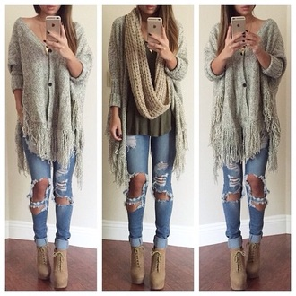 jeans cardigan scarf shoes t-shirt gloves