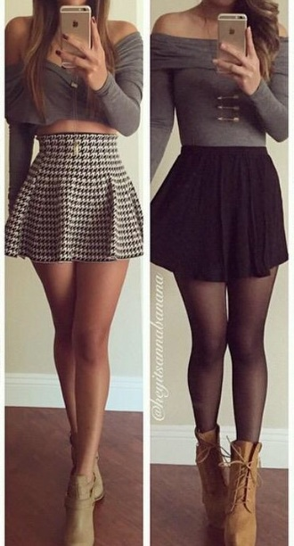 skirt grey skirt black and white cute grey sweater top
