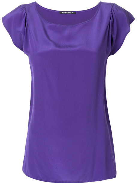 Luisa Cerano blouse loose women fit silk purple pink top