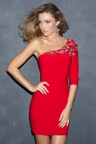 dress red dress homecoming one shoulder