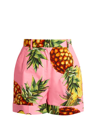 shorts pineapple cotton print pink