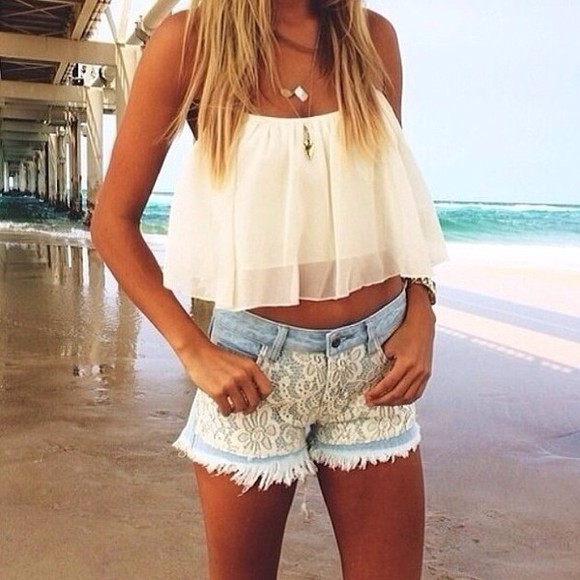 shorts lace shirt white lace shorts lace shorts top crop tops white crop tops white crop top
