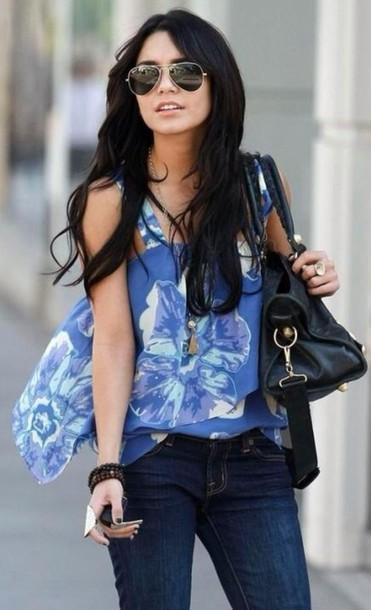 Shirt Vanessa Hudgens Light Blue Blue Shirt Black