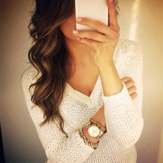 sweater knitwear white angel mariannan outfit winter outfits fall outfits clock white sweater strick