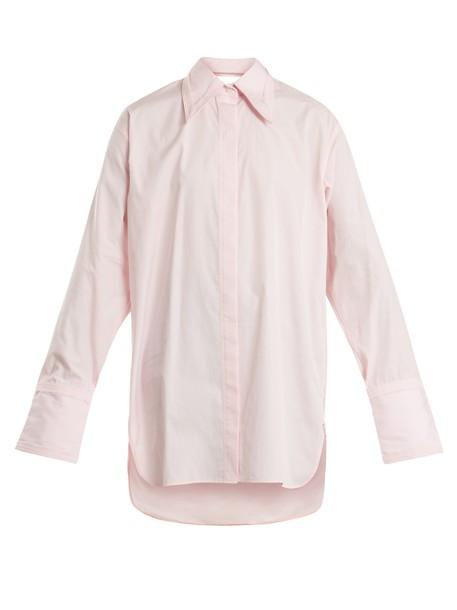 shirt oversized cut-out cotton light pink light pink top