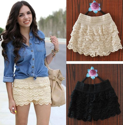 1PCS Womens Korean Sweet Cute Crochet Tiered Lace Shorts Skorts Pants 2 Color | eBay
