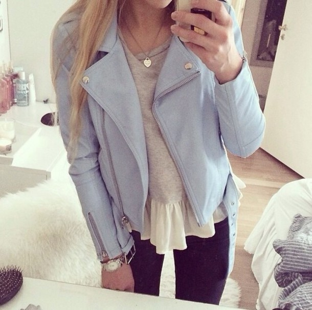 Jacket: light blue moto jacket, biker jacket, baby blue moto ...