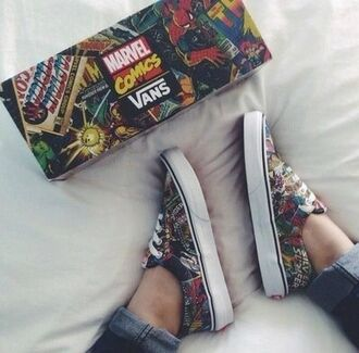 shoes vans off the wall comics marvel vans ariana grande cute vanz charcoal tumblr soft grunge marvel vans