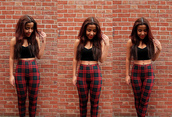 pants,tartan,cuteasheaven,high waisted,black and red,top