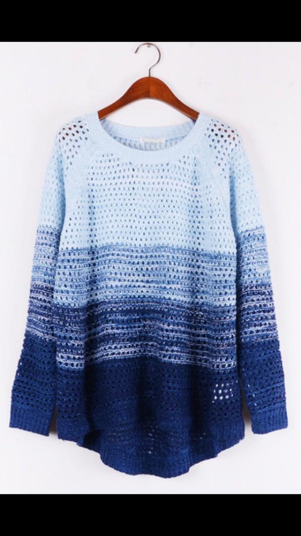sweater peri.marie blue white dark blue sweater