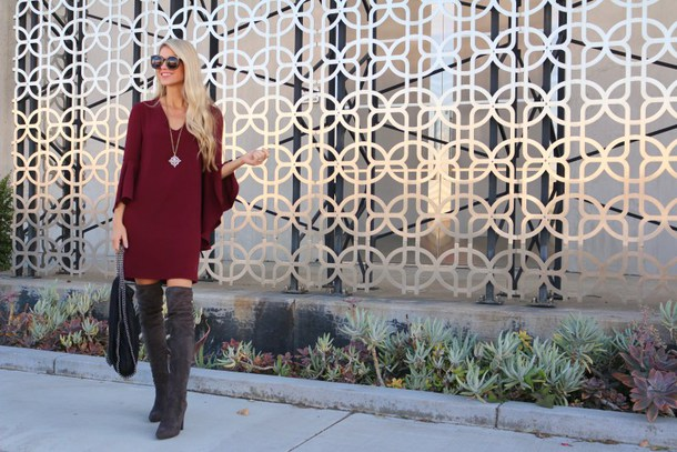 ashn'fashn blogger sunglasses dress jewels bag shoes fall outfits boots over the knee boots red dress