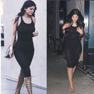 dress black dress kardashians kylie jenner shoes high heels midi dress heels black bodycon dress boots lace up tan nude kiley gladiators kylie jenner dress