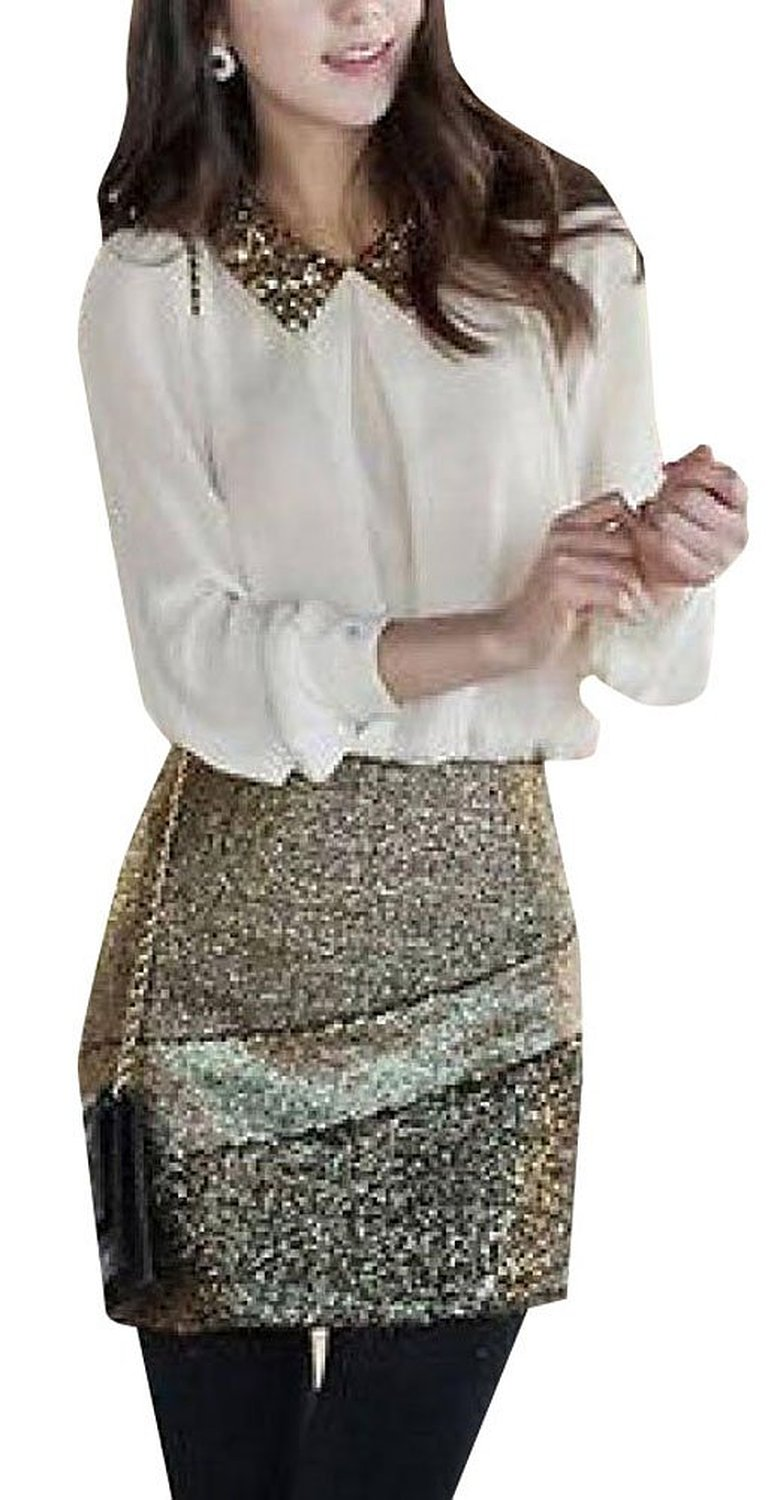 Women's vintage sequins pan collar long sleeve sheer tops blouse at amazon women's clothing store:
