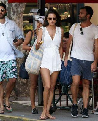 romper rumper alessandra ambrosio summer sunglasses bag flip-flops necklace white