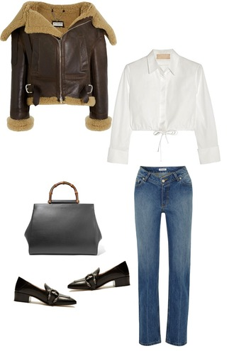 mode d'amour. edited by anne-miek kessels blogger jacket shirt jeans bag shoes shearling jacket handbag white shirt loafers