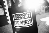 bag,queens get the money,black,white,tote bag