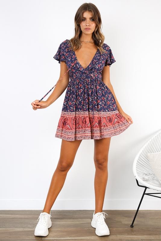 Fleetwood Dress - Navy/Pink Print - Stelly