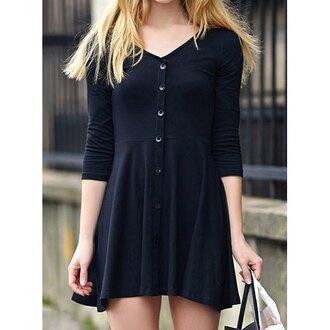 dress style skater skater dress black black dress summer dress fashion college three-quarter sleeves girl girly girly wishlist button up cute