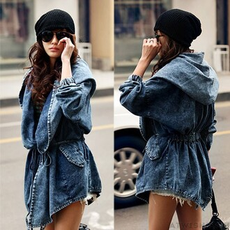 jacket waist denim jacket cowboy hooded windbreaker coat