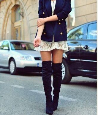 jacket dress knee high boots boots cute cute dress blazer shoes