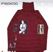 sweater,red,gdragon,kpop,stripes,oversized,turtleneck,oversized turtleneck sweater,ulzzang style
