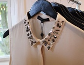top,beaded,blouse,sleeveless,collar,cream,angheeeel,trendy
