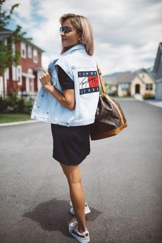 dress tumblr navy navy dress mini dress vest denim vest sneakers bag shoes