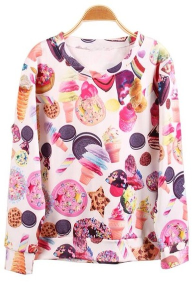 designer sweater junk food treats stoner harajuku candy ice cream 3d print sale