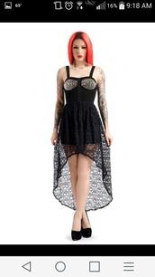 dress,black,black dress,gothic dress,goth,studs,studded dress,skull,skull dress,lace dress,black lace skull dress,halloween,sexy halloween costume