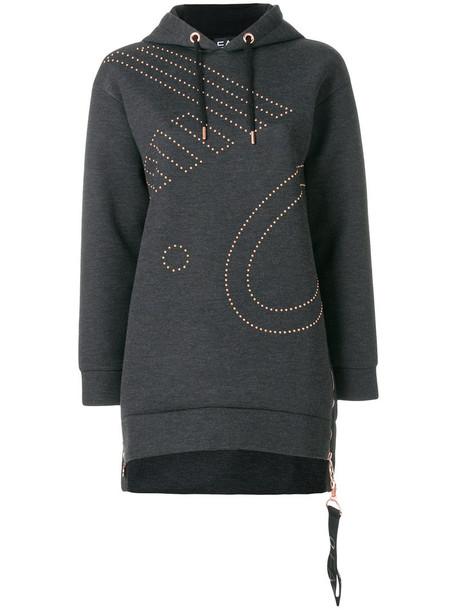 Ea7 Emporio Armani hoodie oversized women cotton grey sweater