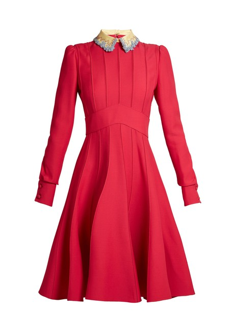 Valentino dress embellished silk wool pink