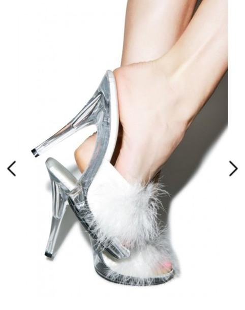 1fbfa1b9d4db shoes clear see through stilettos heels pom poms fur