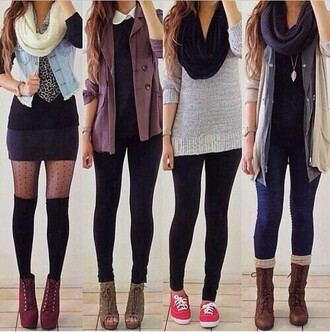 shirt blouse scarf hat jeans sweater skirt shoes underwear jacket blue shirt purple sweater comfy sweater knitted scarf combat boots