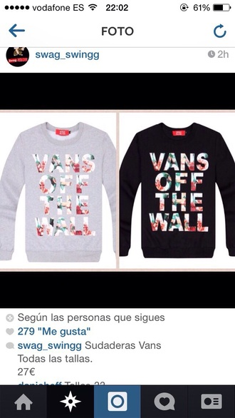 sweater vans off the wall sweatshirt