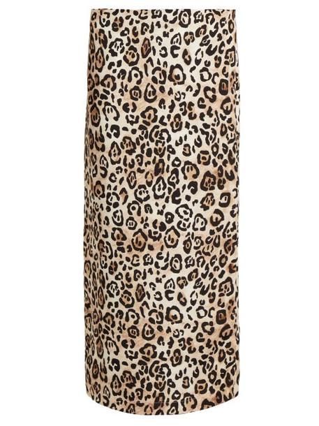 Raey - Leopard Print Silk Pencil Skirt - Womens - Leopard