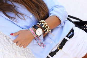 blouse bleu girl fashion outfit ootd watch michael kors jeans short white style white jeans