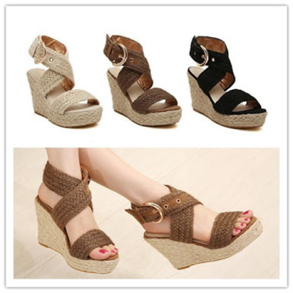 Women Sandals 2015 Summer Retro Casual Jute Fiber Wedge