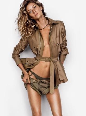 jacket gisele bündchen model khaki