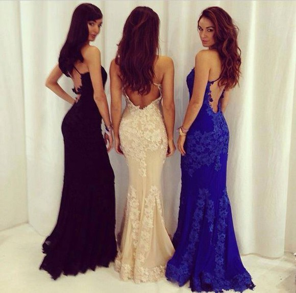 backless dress lace dress mermaid dress