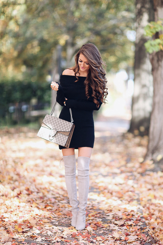 southern curls and pearls blogger dress bag shoes jewels make-up gucci bag thigh high boots mini dress fall dress off the shoulder dress