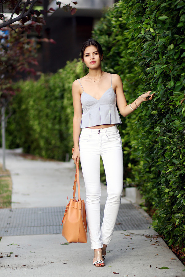 fake leather top jeans bag jewels shoes sunglasses bucket bag