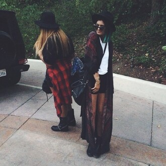 cardigan kylie jenner jacket hat coat plaid kimono long widebrim hat