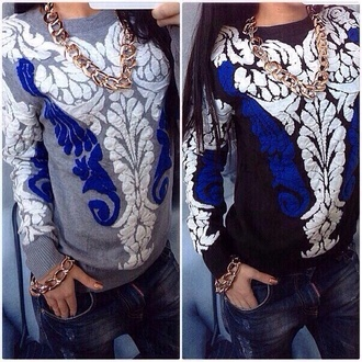 sweater grey color white pattern