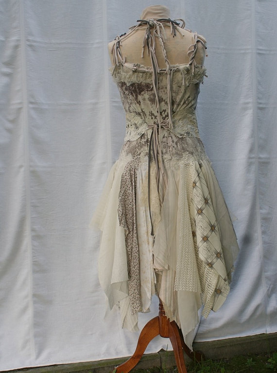 Mori girl natural fairy tattered bridesmaid dress beige ivory romantic dress upcycled woman's clothing funky style shabby chic eco