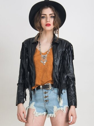 jacket chiclook closet fall outfits fall colors leather leather jacket boho goth grunge fringes hipster black black jacket style fashion trendy