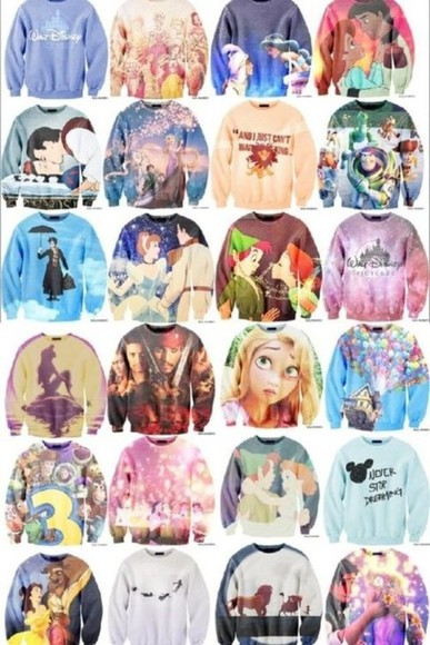 disney ariel cinderella princess Pocahontas disney princess beauty and the beast aladdin the little mermaid mary poppins peter pan pirates of the caribbean jack sparrow tangled rapunzel and flynn rapunzel toy story movie Snow white sweater jacket