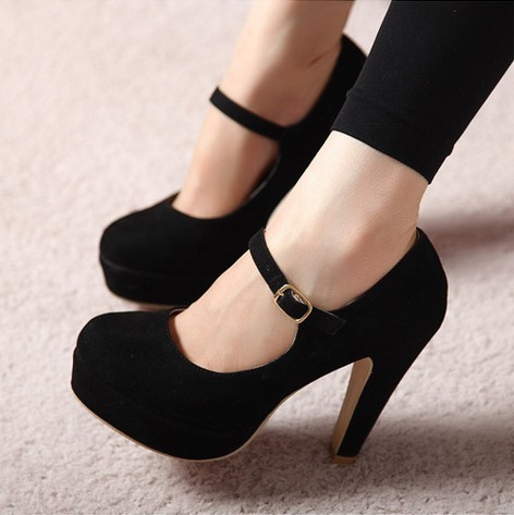 Spring and Autumn Fashion Boots Thick Heels Shoes High Heel Pumps Closed Toe Pumps With Ankle Strap (More Colors)-inBoots from Shoes on Aliexpress.com